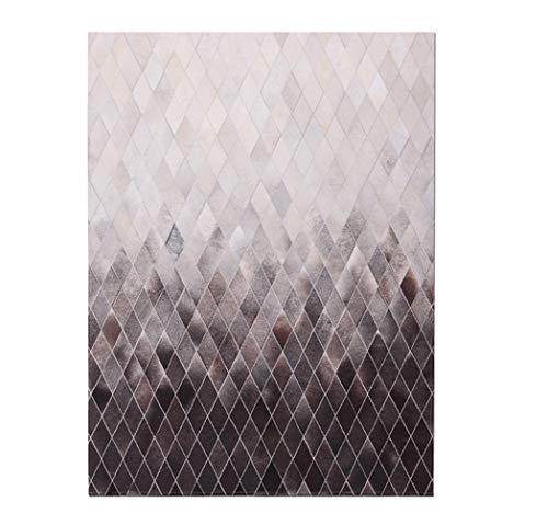 Fydnp Moderner Teppich Aus Taupefarbenem Rindleder Mit Farbverlauf, Handgemachte Kuh Haut Patchwork Area Rug, Klassische Geometrische Diamond Collection, Quadratischer,1.6×2.3m/5.2×7.5ft -