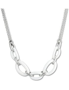 Amello Halskette Keramik Ovale weiß Damen Edelstahlschmuck Stainless Steel ESKX16W