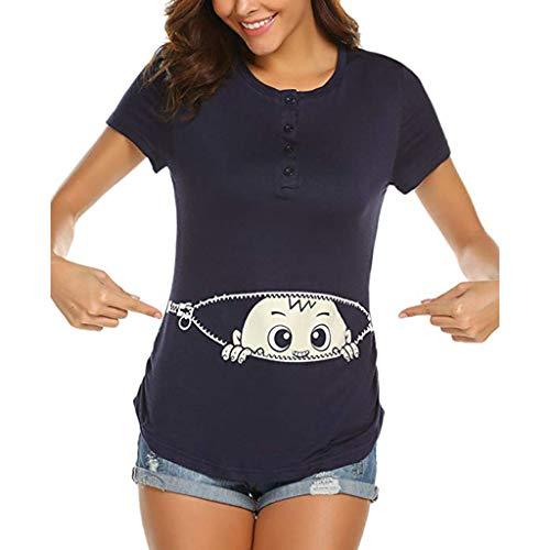 Schwangere Frauen T-Shirt Kostüm Sommer Lustige Baumwolle Weste Tops Damen Baby in der Tasche Top Oberteil Für Schwangere T-Shirts Cute Mutterschaft Kleidung Lustige Wickeln-Schicht (Lustige Witzige Kostüm)