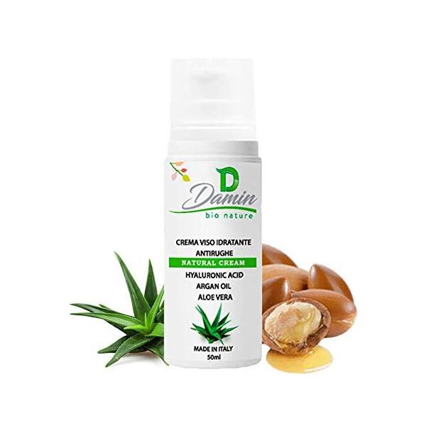Damin Bio Nature – Crema Facial ANTIARRUGAS 100% Natural Con Àcido Hialurónico y Aloe Vera HIDRATANTE Antiedad Hombre Mujer 50ml