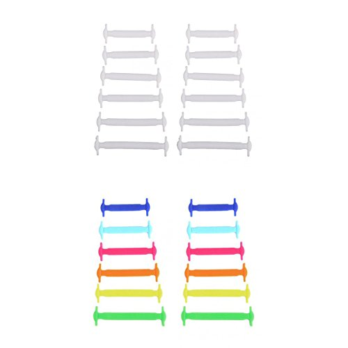 2 Set di Lacci da Scarpe Elastici per Bambini, in Silicone, Colore Bianco+Multicolore
