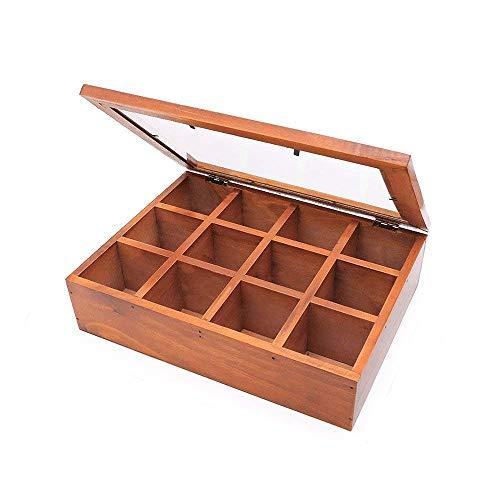 REFURBISHHOUSE Holz Multi Funktional Aufbewahrungs Box, Klassische H?lzerne Desktop Aufbewahrungs Box 12 Einstellbare Truhe Aufbewahrungs Tasche Tee Set Schmuck Kleine Sammlung Elegante Tee-sets