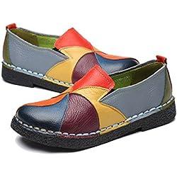 Socofy Mocassini da Donna, Mocassini in Pelle Donne Loafers Comode Slip On Scarpe Casual Shoes Comfort Pompe Espadrillas Scarpe Scarpe da Guida Scarpe da Passeggio