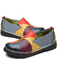 Socofy Mocasín de Mujer, Mocasín Slip-on Casual de Cuero de Mujer Zapatos Planos de deslizamiento Mocasines de conducción Mocasín Zapatillas