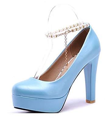 Aisun Damen Süß Künstliche Perlen Metall Knöchelriemchen Trichterabsatz Pumps Pink 34 EU Tc0sv