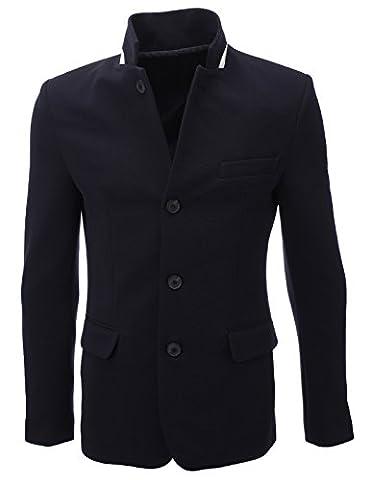 FLATSEVEN Mens Standing Collar 4 Buttoned Premium Blazer Jacket (BJ107) Navy, Boys L