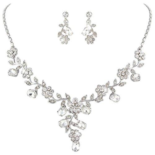 Ever Faith Gli orecchini collana di cerimonia nuziale della vite del foglio Set cristallo austriaco Silver-Tone