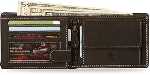 Brieftasche für Herren 100% Büffel - Leder WILD REAL ONLY braun