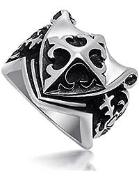 BOBIJOO Jewelry - Chevalière Bague Templier Croix de Lys Epée  Franc-Maçonnerie Acier Inoxydable 236d02d40662