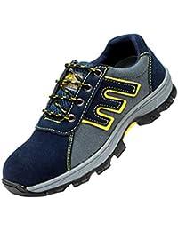 Hombre Botas Ligeras De Tobillo con Cordones Puntera De Acero Zapatos Protección De Malla Transpirable Calzado Deportivo Antiestático Y Antideslizante A Prueba De Agua