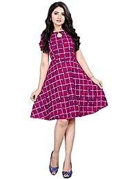 PURVAJA Women's Skater Dress(Cold Pink)