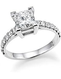 CZ Swarovski anillo de compromiso princesa brillante 18 Oro blanco carat Cut