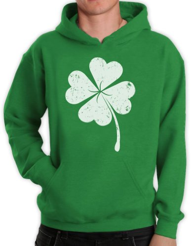 Faded Shamrock Grün Medium Kapuzenpullover Hoodie (Bier Distressed)