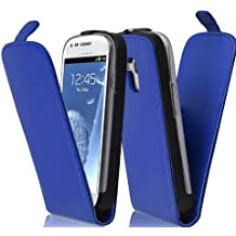 Cadorabo - Funda Flip Style para Samsung Galaxy S3 MINI (I8190) de Cuero Sintético Liso - Etui Case Cover Carcasa Caja Protección en AZUL-BRILLANTE