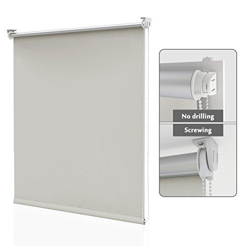HOMEDEMO Estor Enrollable Opaco 85 x 170 cm Termico estores Aislamiento térmico Prevenir Ultravioleta Montaje Sencillo sin Taladrar Crema