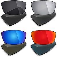MRY 4pares polarizadas lentes de repuesto para Oakley Canteen 2006sunglasses-stealth negro/fuego rojo/hielo azul/plata titanio