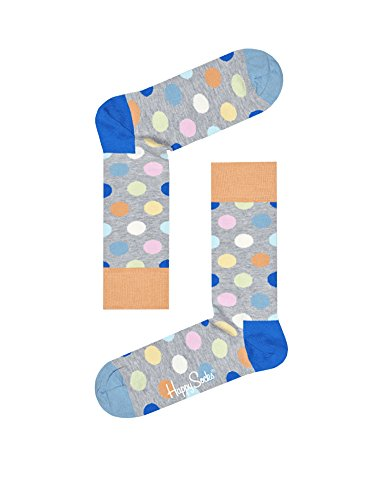 Herren und Damen 1 Paar Happy Socks Großer Punkt kämmten Baumwollsocken (36-40, Hellblau) (Multi Big Dot)