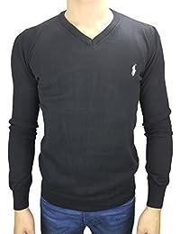 Polo by Ralph Lauren Pullover V Ausschnitt Slim Fit schwarz Reiter  weiß Newport Black b2cb683bf1