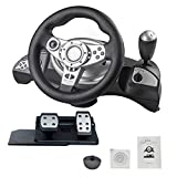 Racing Wheel - PS3 / PS2 / PC D-Input/X-Input Computadora PC Compatible con Steam con Ordenador de vibración Consola de Juegos Volante de Carreras para PC / PS3 / PS4 / Direct-X/X-Input/Steam