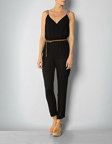 Pepe Jeans Damen Jumpsuit Dana Mikrofaser Einteiler Unifarben, Größe: M, Farbe: Schwarz