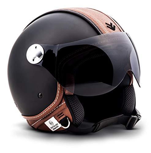 Armor · AV-84 'Vintage Deluxe' · Casco Demi Jet · Moto Urbano Piloto Motocicletta Helmet Scooter · ECE certificato · Visor · Click-n-SecureTM Clip · Borsa per il trasporto · XL (61-62cm)