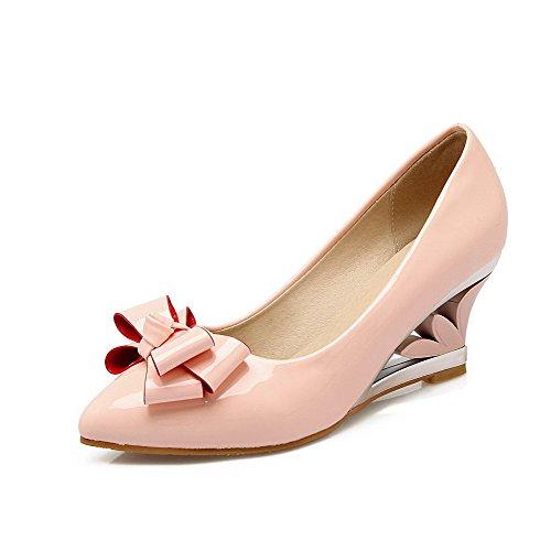 AllhqFashion Femme Verni Couleur Unie Tire Pointu à Talon Correct Chaussures Légeres Rose