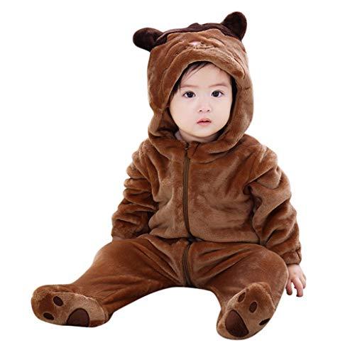 Kobay Baby Kleinkind Tiere Cosplay Jungen MäDchen Niedlichen Cartoon Pyjamas Body Strampler Kinder Baby Cartoon Niedlichen Tierform Flanell Overall Strampler (73,12-18 Monate, Bär # 3) -