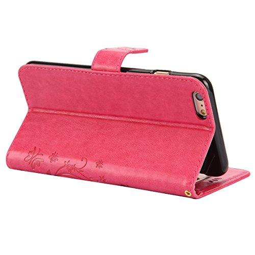 ISAKEN Custodia iPhone 6 Plus, Cover iPhone 6S Plus, Elegante borsa Custodia in Pelle Protettiva Flip Portafoglio Case Cover per Apple iPhone 6 Plus (6 5.5) / con Supporto di Stand / Carte Slot / Chi Butterfly: rosa