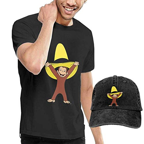 KDHRTI Herren Kurzarmshirt, Curious George Men's Funny Adult T-Shirts and Caps Combination Black - Curious George Kleinkind T-shirt
