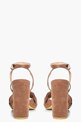 Damen Mokka Amelia Peeptoe-sandalen Mit Kleinen Volants Mokka