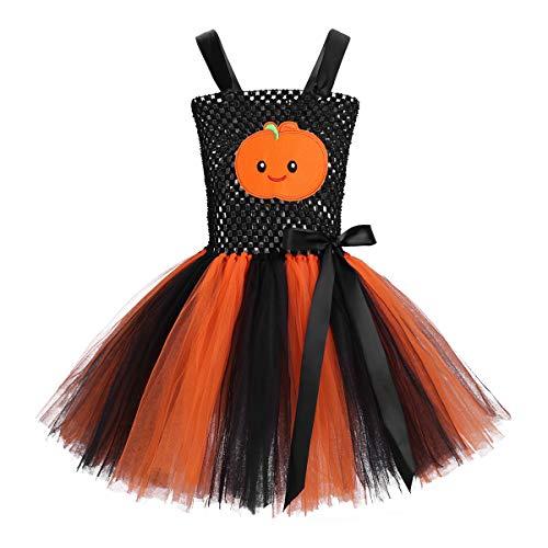 Freebily Kinder Mädchen Halloween Kostüm mit Kürbis Muster -