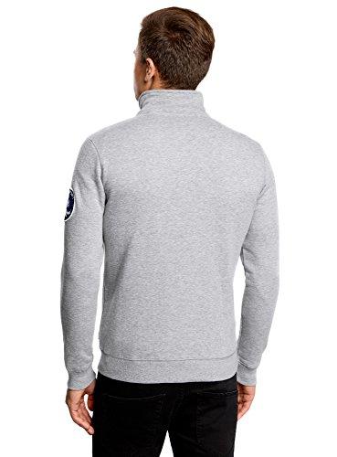 oodji Ultra Herren Jersey-Jacke mit Stickerei Grau (2345P)
