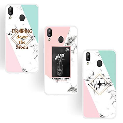 KANTAS 3X Hülle Marmor für Samsung Galaxy M20, Weich Silikon Schutzhülle Handyhülle Zitat Design Durchsichtig Grün Rosa Farbe Spleißen Marble Dünn Rückseite TPU Bumper Back Cover -