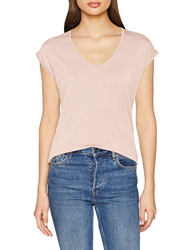 PIECES Damen Pcbillo Tee Lurex Stripes Noos T-Shirt, Rosa (Peachskin Detail:Silver), 40 (Herstellergröße: L) - 5 Damen Rosa T-shirt