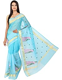 Craftghar Kota Doria Embroidery Work Saree 2 Inch Golden Printed Border With Blouse Piece