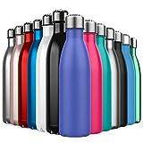 BICASLOVE de Botella de Agua de Acero Inoxidable,Diseño de Pared Doble,Boca Estándar,Para Correr,Gimnasio,Yoga,Ciclismo,500ML,Azul Marroquí