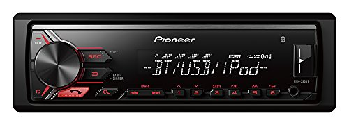 Pioneer Radio Bluetooth MVH-390BT USB, AUX Eingang, Freisprecheinrichtung | Steuerung über Android, iPhone, iPod und App Mode Spotify-Steuerung Siri Eyes Free | 1/2 DIN Bluetooth Receiver | Car HiFi (Bluetooth-pionier)