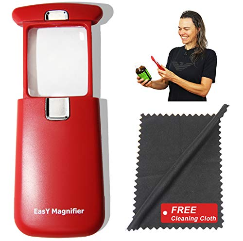 EasY Magnifier Leselupe 3x Mit Hellem LED Licht; Taschen Lupe Mit Geschützter Acryl Linse;...