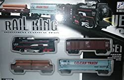 RAIL KING BATTERY OPERATED FRIGHT CAR GOODS TRAIN TRACK SET FOR KIDS