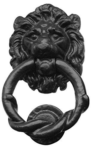 Cabeza de león aldaba en negro de hierro fundido (AX13)
