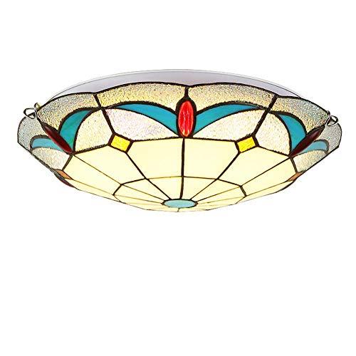 ACTW Tiffany Style Deckenleuchte Kreative mediterrane Glasmalerei Deckenleuchte, Schlafzimmer Esszimmer Balkon Gang Anhänger Deckenleuchten, E27, (12/16/20 Zoll verfügbar) (Beleuchtung Art Anhänger Stil Nouveau)