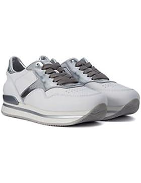 Hogan calzature donna H222 in pelle bianca con inserti in argento laminati (37, Bianco)