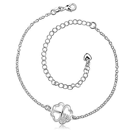 Styleziel Damen Fusskette Fußkette Fußkettchen 925 Silber pl kleinen Kleeblättern Kleeblatt als Anhänger mit kleinen Kristallen 20-30cm 2192