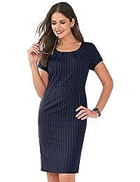 VENCA Vestido Rayas Pinzas en el Escote Redondeado y Espalda Mujer by 010246