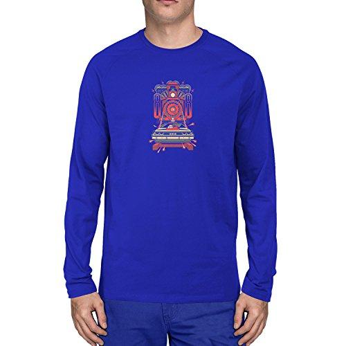 Planet Nerd - Delorean 88 - Herren Langarm T-Shirt, Größe XL, blau