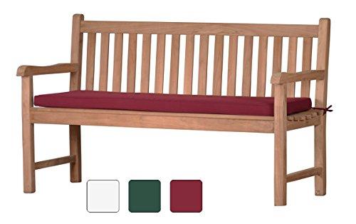 Rote Bankauflage Kanaria - 170 x 47 cm |  Bank-Polster aus 100% strapazierfähigem Polyester  6 cm dickes bequemes Bankkissen  Polster-Auflage als Sitzpolster für Gartenmöbel & als...