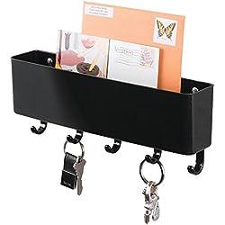 mDesign Organizer scrivania – Portapenne da scrivania per la cameretta e l'ufficio – Piccolo portaoggetti per gomme, graffette, penne, ecc. – nero