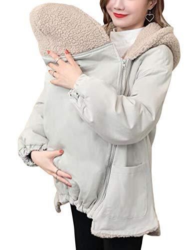 BESBOMIG Mujer Maternidad Cremallera Encapuchado Chaqueta Capa Recién Nacido Bebé Bolsa - Desmontable Bebé Usando Invierno Anorak Desgastar