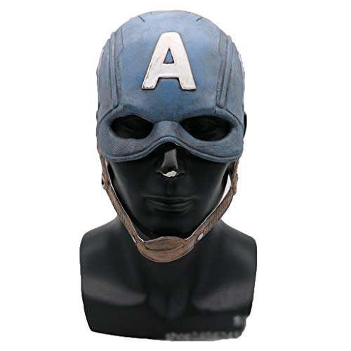 Steve Rogers Kostüm - QWEASZER Captain America Steve Rogers Masken Avengers Maske Gummi Party Maske Vollgesichts Kopf Kostüm,Captain America-OneSize