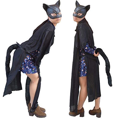JIE Halloween Ball Party Kostüm Cosplay Leistung Kostüm Catwoman Maske Schwarze Katze Schwanz Katze Gesichtsmaske Hälfte,schwarz,1